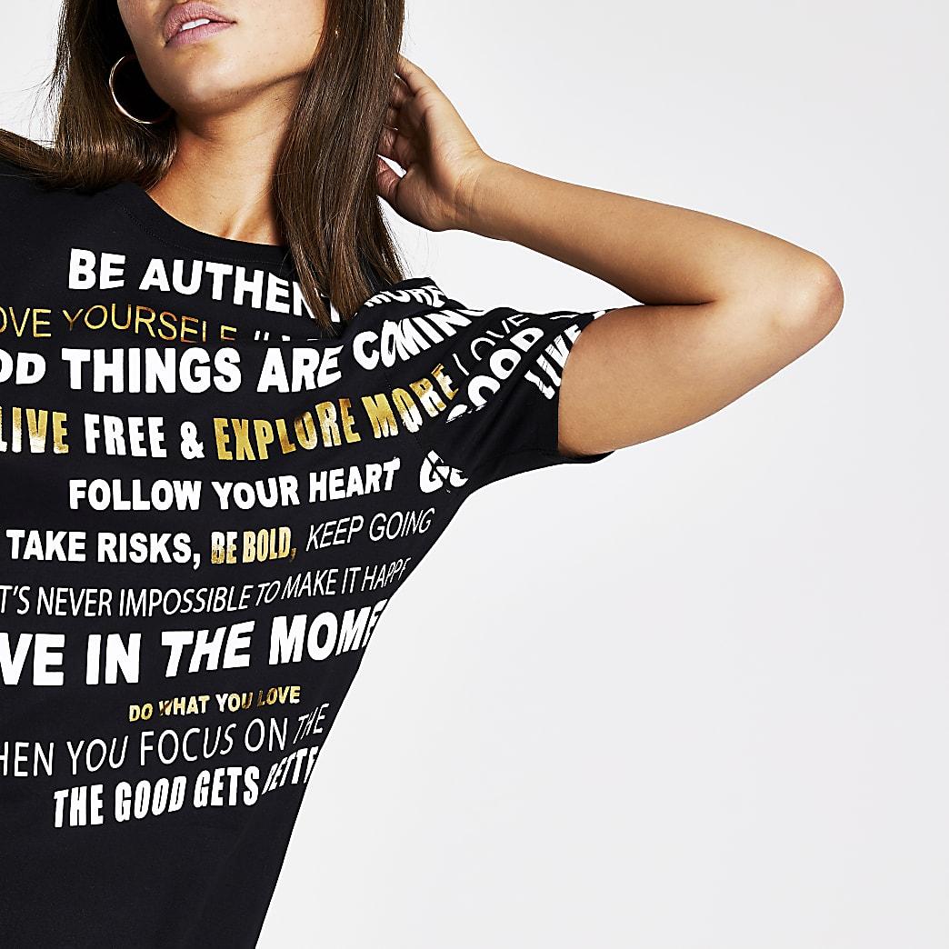 Black print Longline T-shirt