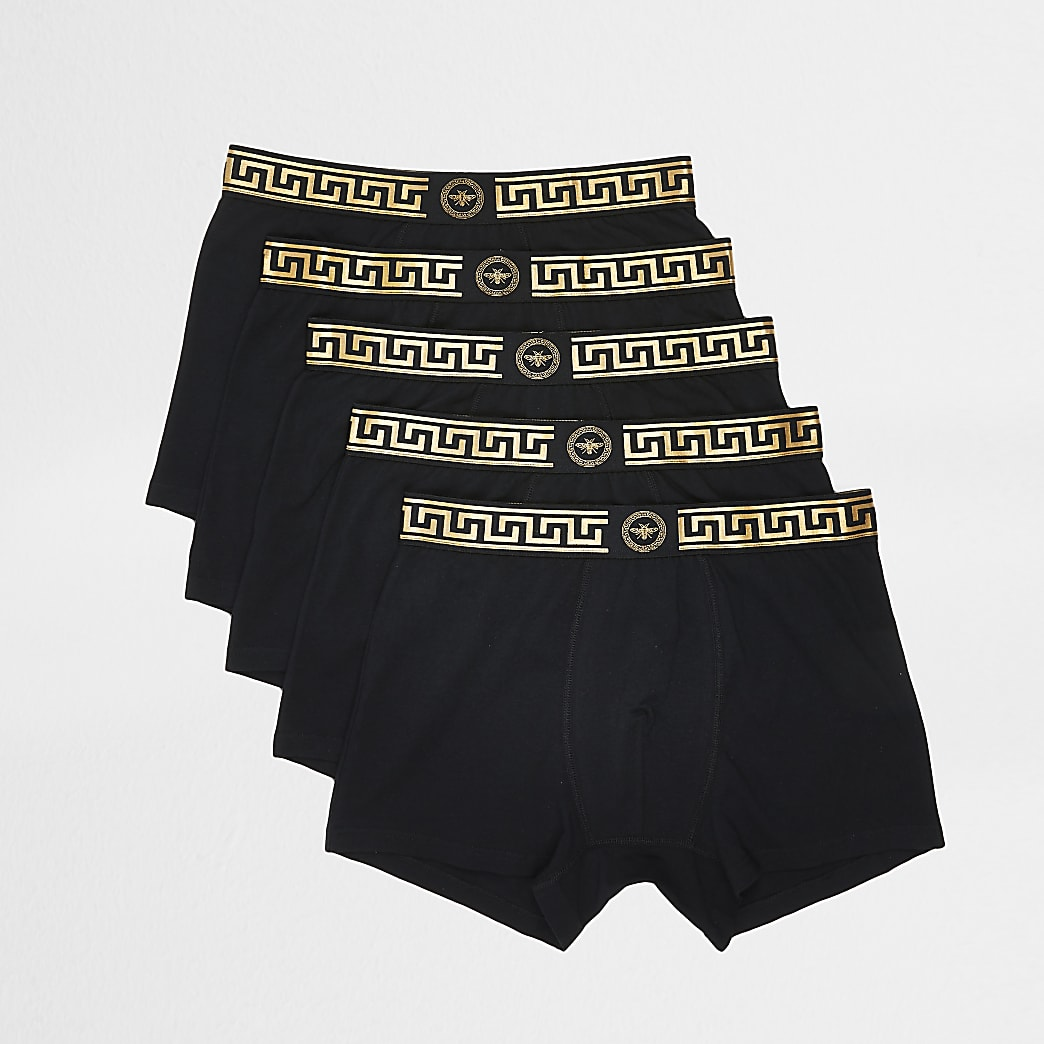 Black print waistband trunks 5 pack