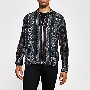 Schwarzes, langärmeliges Überhemd mit Print und vorderem Reißverschluss