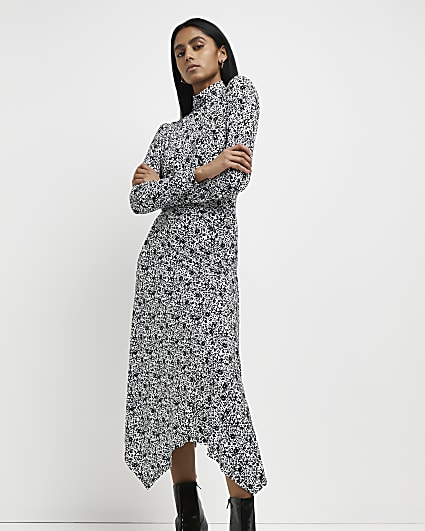 Black printed asymmetric hem midi dress