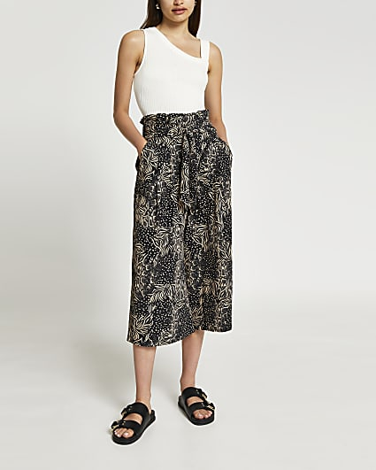 Black printed belted culotte trousers