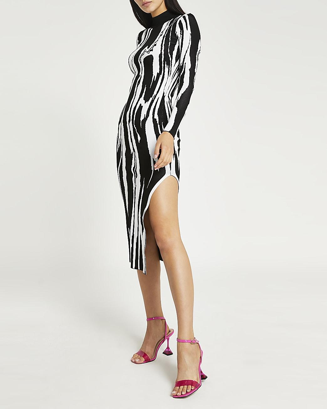 Black printed bodycon midi dress