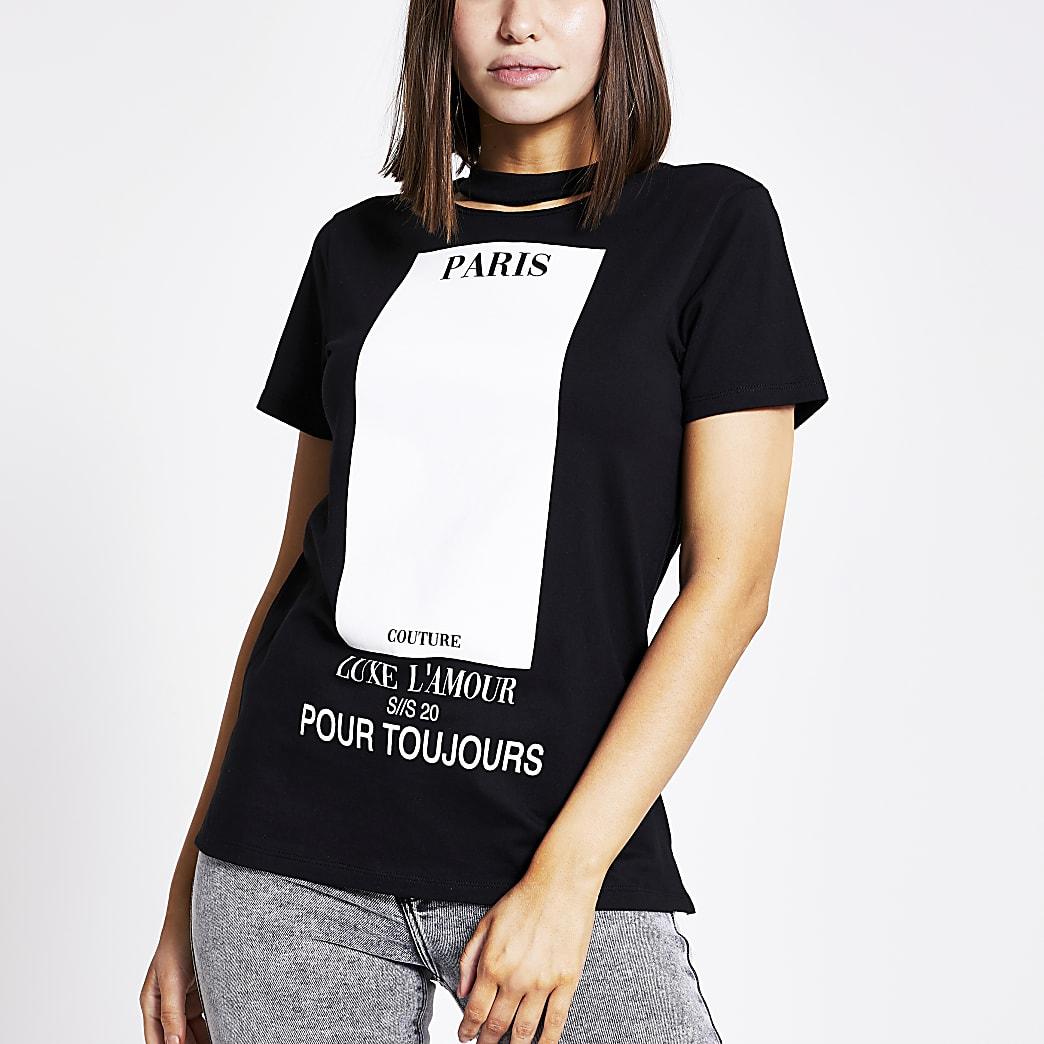 Zwart T-shirt met print en uitsnede bij choker hals