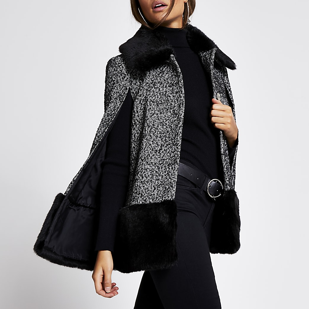 Black printed faux fur trim cape