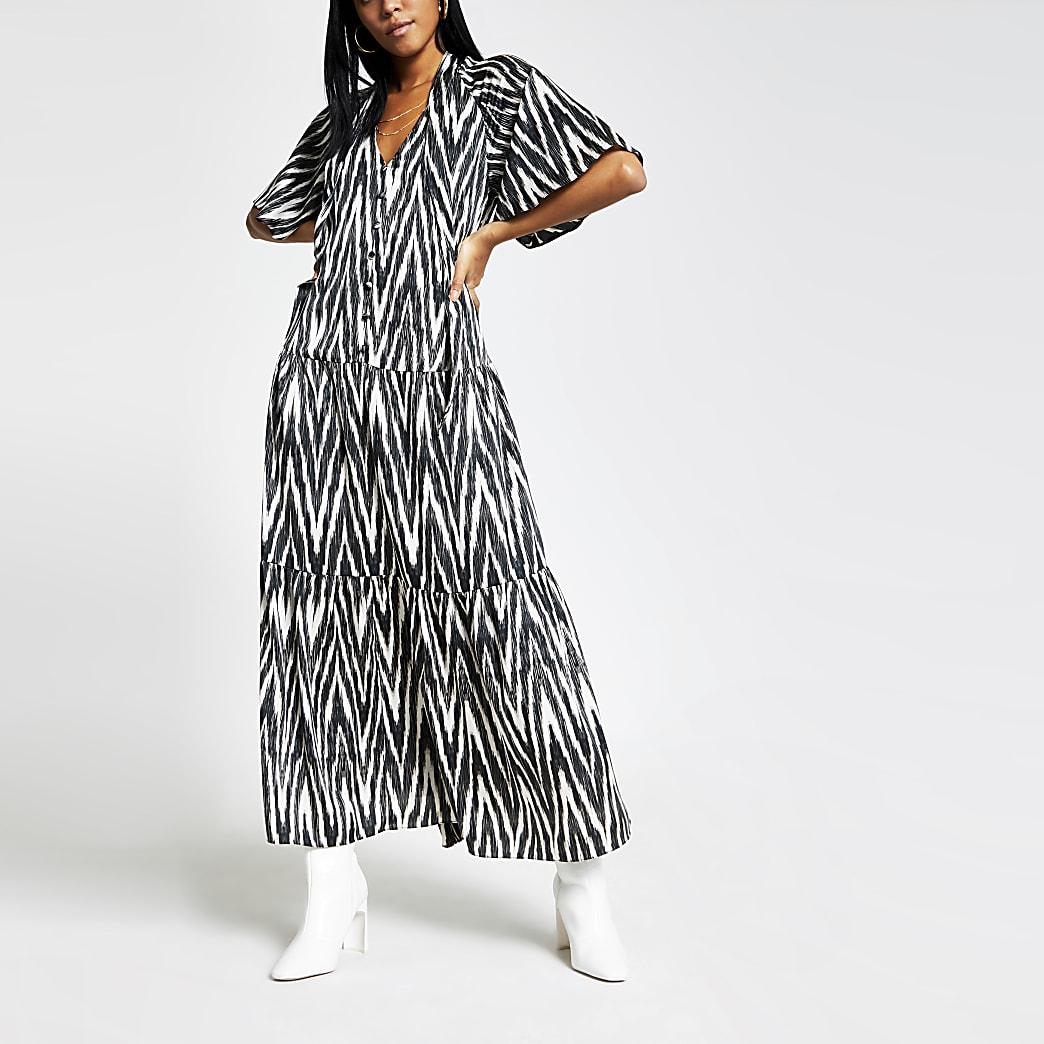 Black printed flute sleeve maxi tea dress
