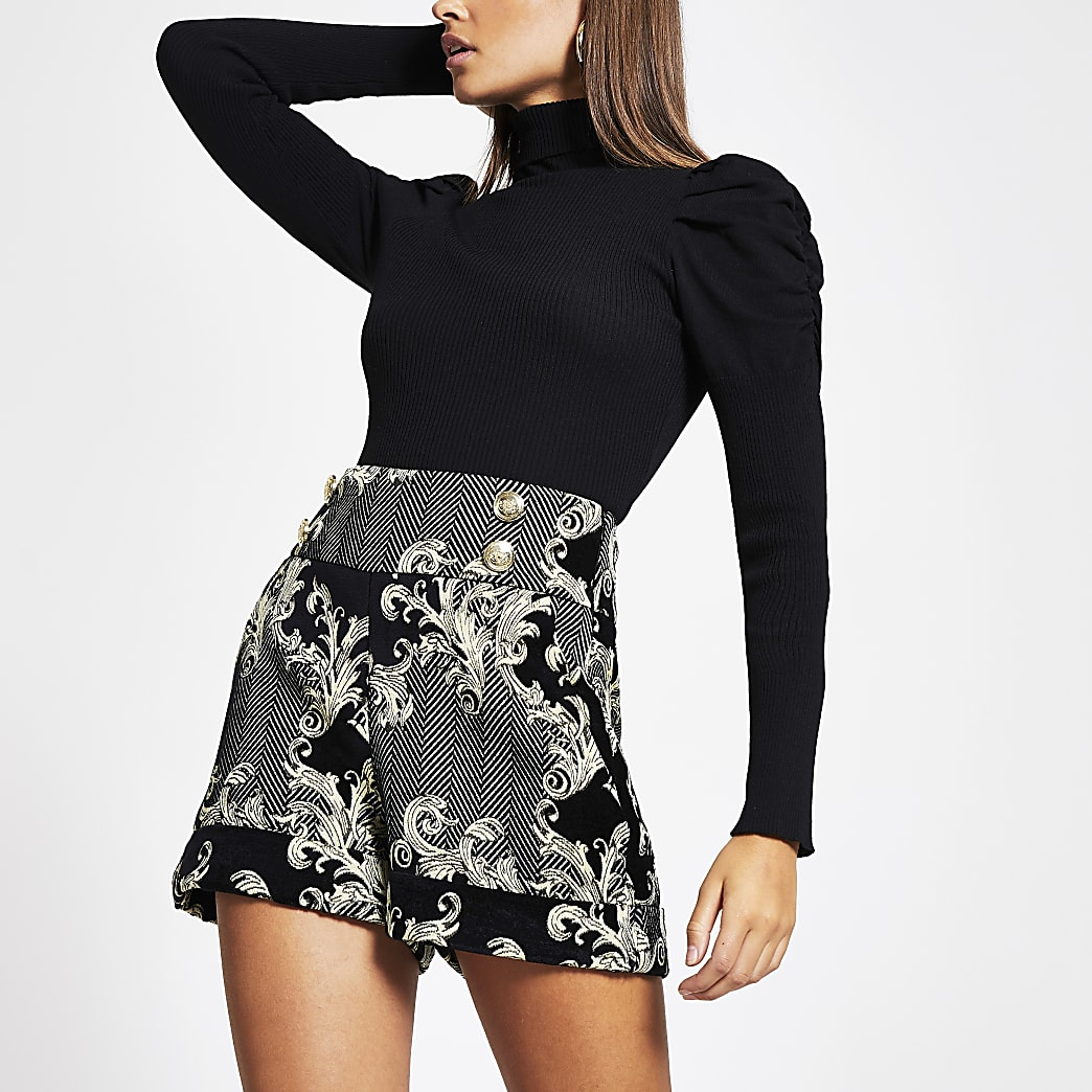 Black printed high waist button front shorts