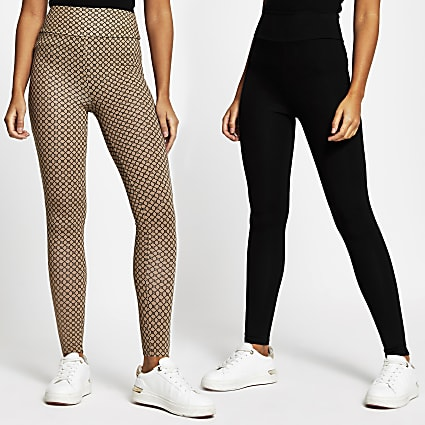 Black printed leggings 2 pack