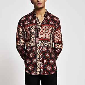 Black printed long sleeve slim fit shirt