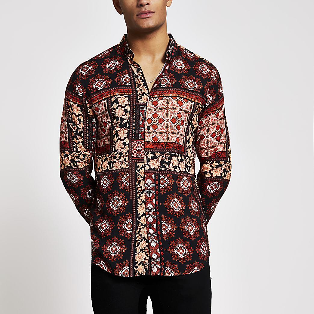 Black printed long sleeve slim fit shirt