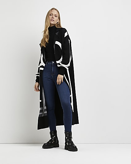 Black printed longline cardigan