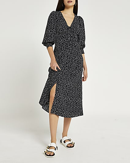 Black printed midi dress