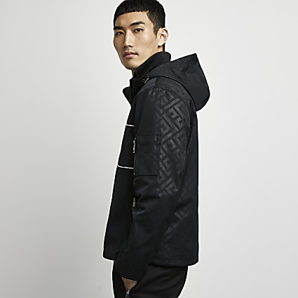 Black printed over the head hooded jacket
