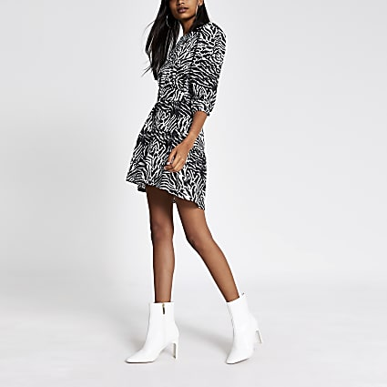 Black printed puff sleeve belted mini dress