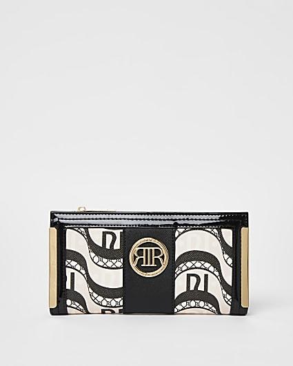 Black printed purse