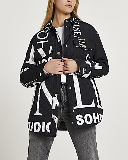 Black printed quilted shacket