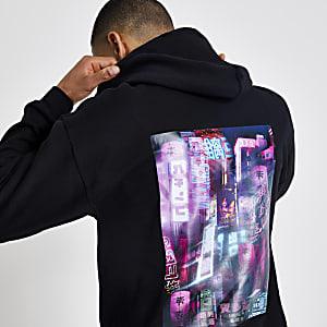 Zwarte regular fit hoodie met print