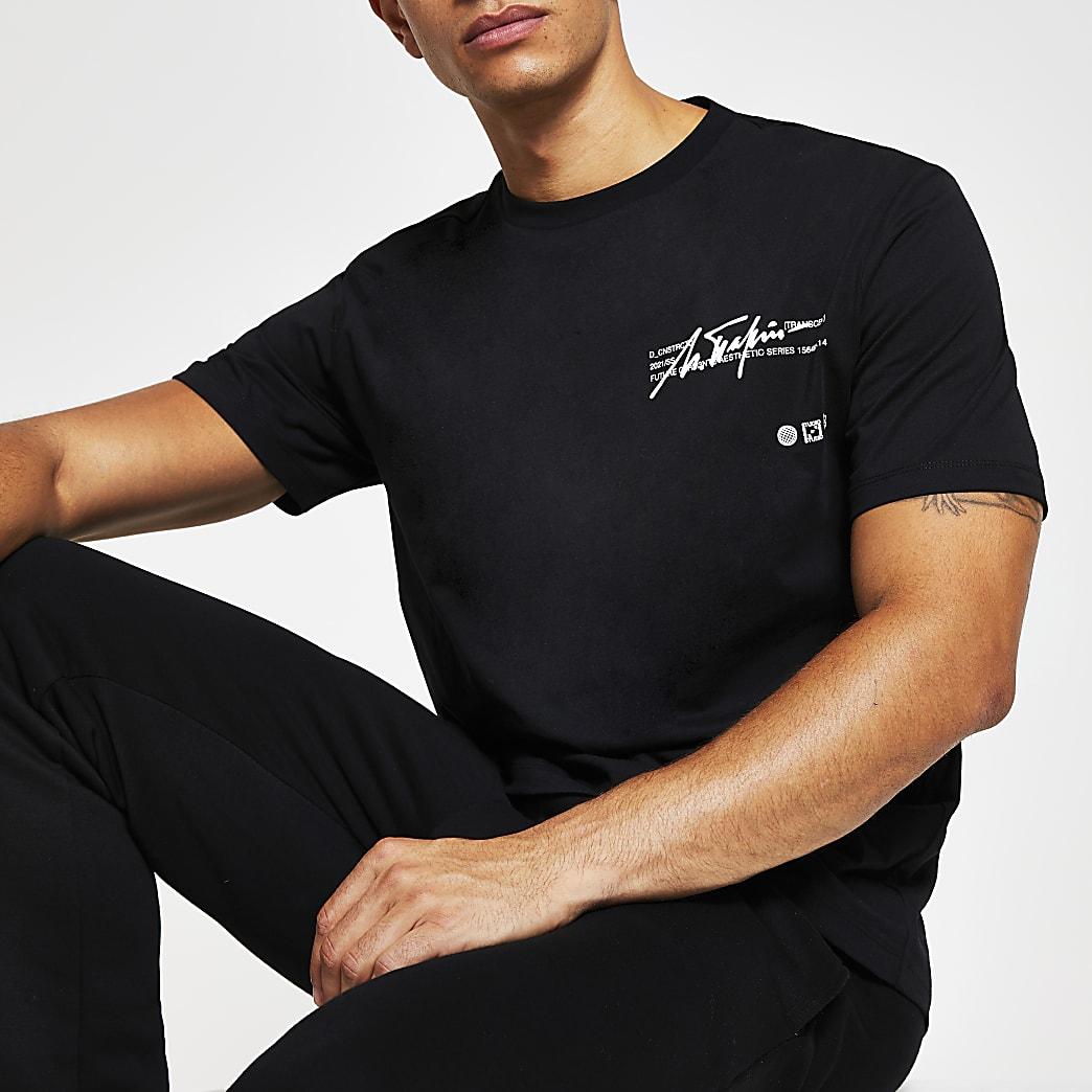 Black printed regular fit T-shirt