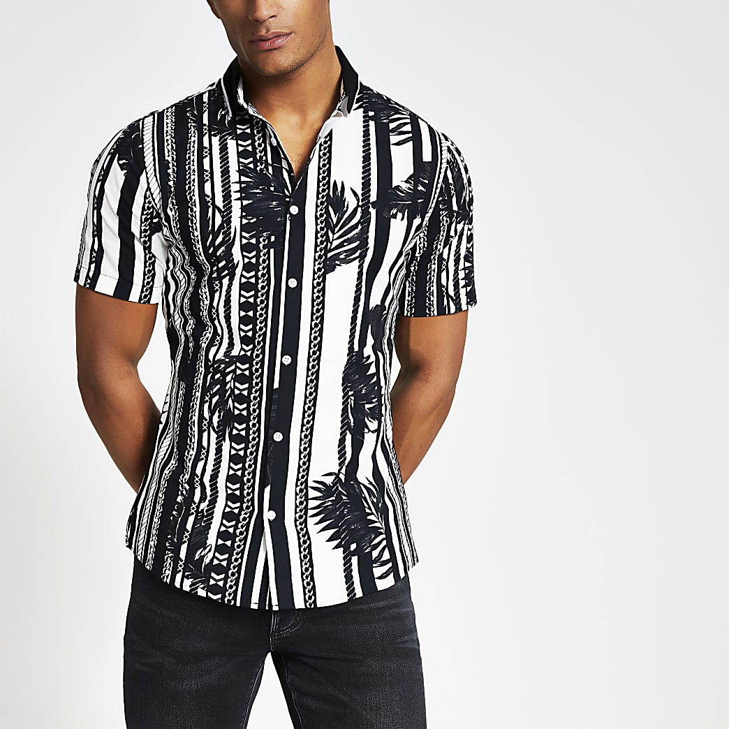 Zwart slim-fit overhemd met geribbelde kraag en print