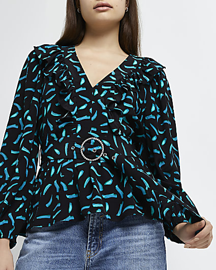 Black printed ruffled belted blouse