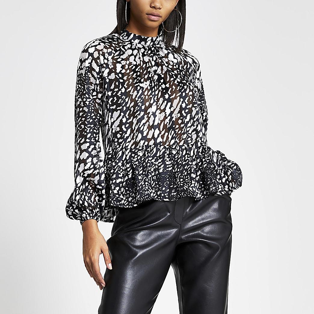 Black printed sheer frill long sleeve top