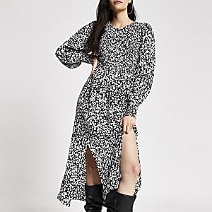 Zwarte shirred midi-jurk met print en lange mouwen