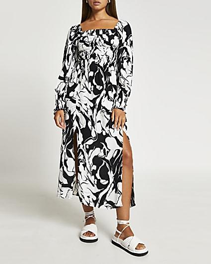 Black printed shirred midi dress