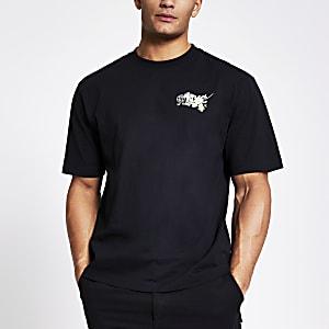Zwarte boxy-fit T-shirt met print en korte mouwen