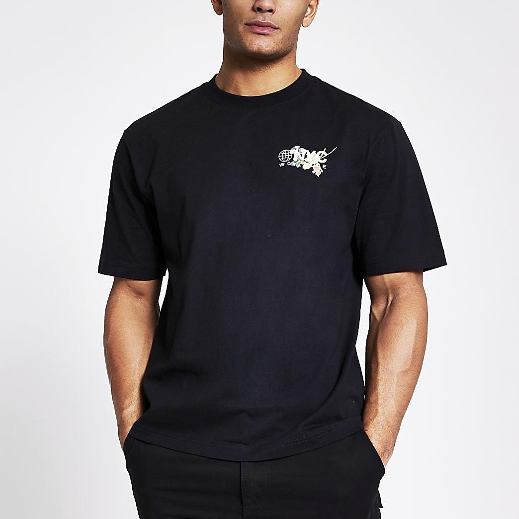 T-shirt ampleà manches courtes impriménoir