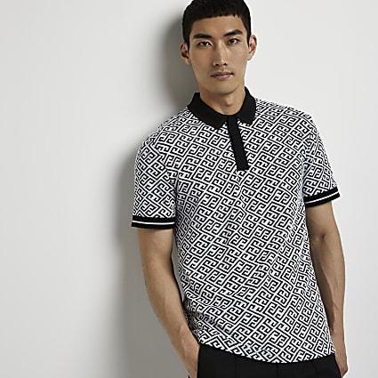 Black printed short sleeve polo shirt