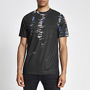 Zwart slim-fit T-shirt met print en korte mouwen