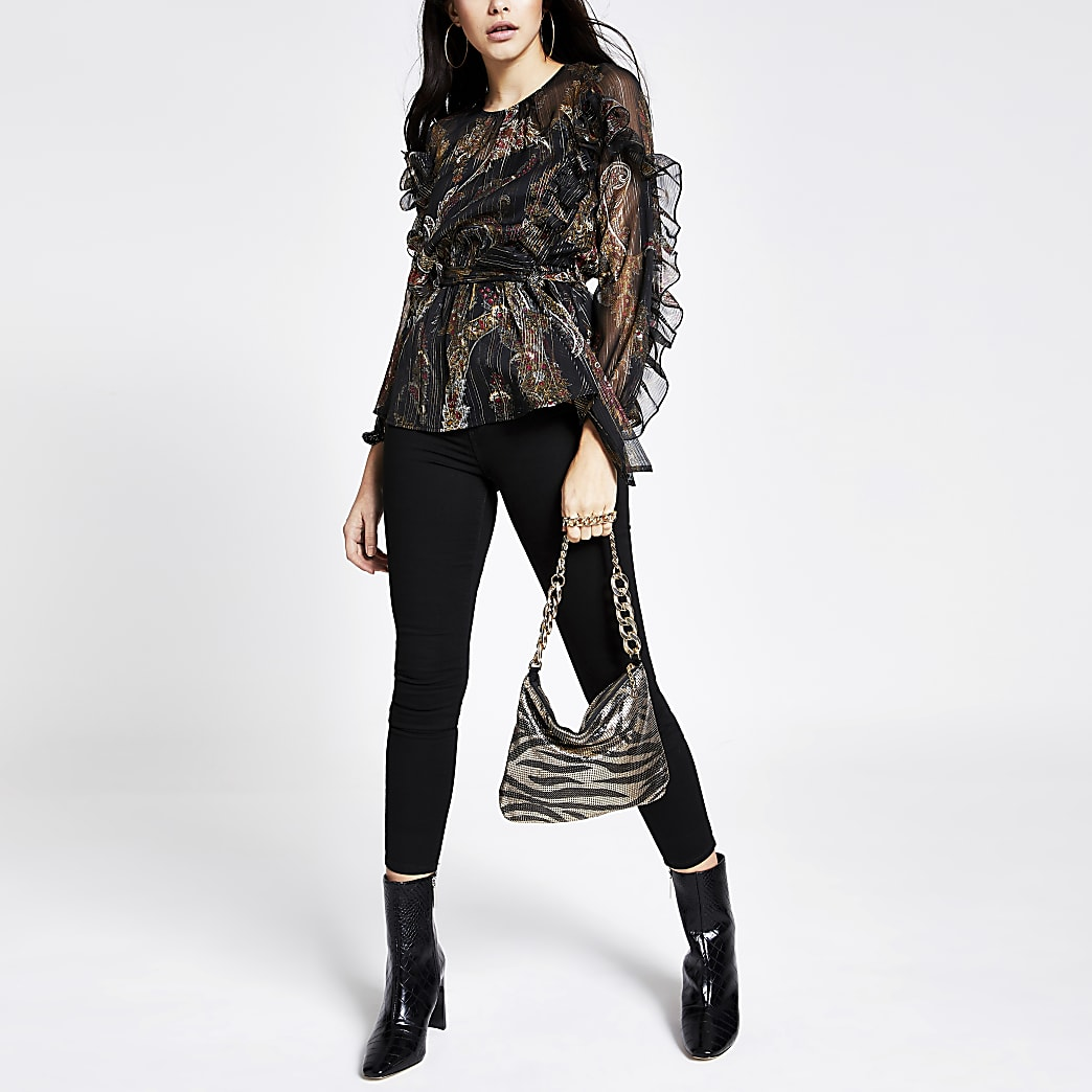 Black printed tie belted frill blouse