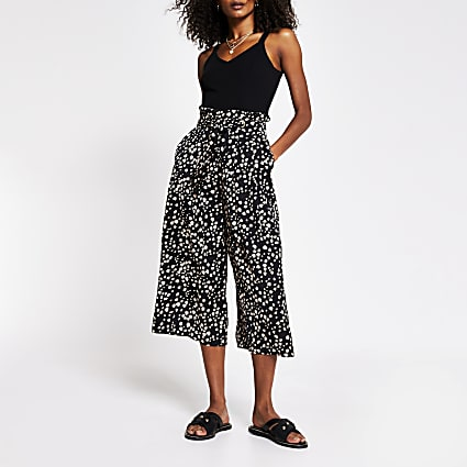 Black printed tie detail culotte