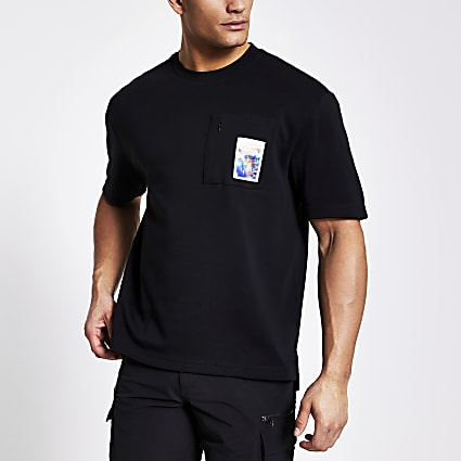 Black printed zip chest pocket T-shirt