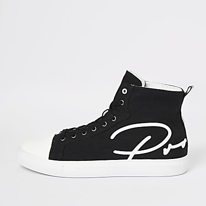 Black Prolific canvas high top trainers