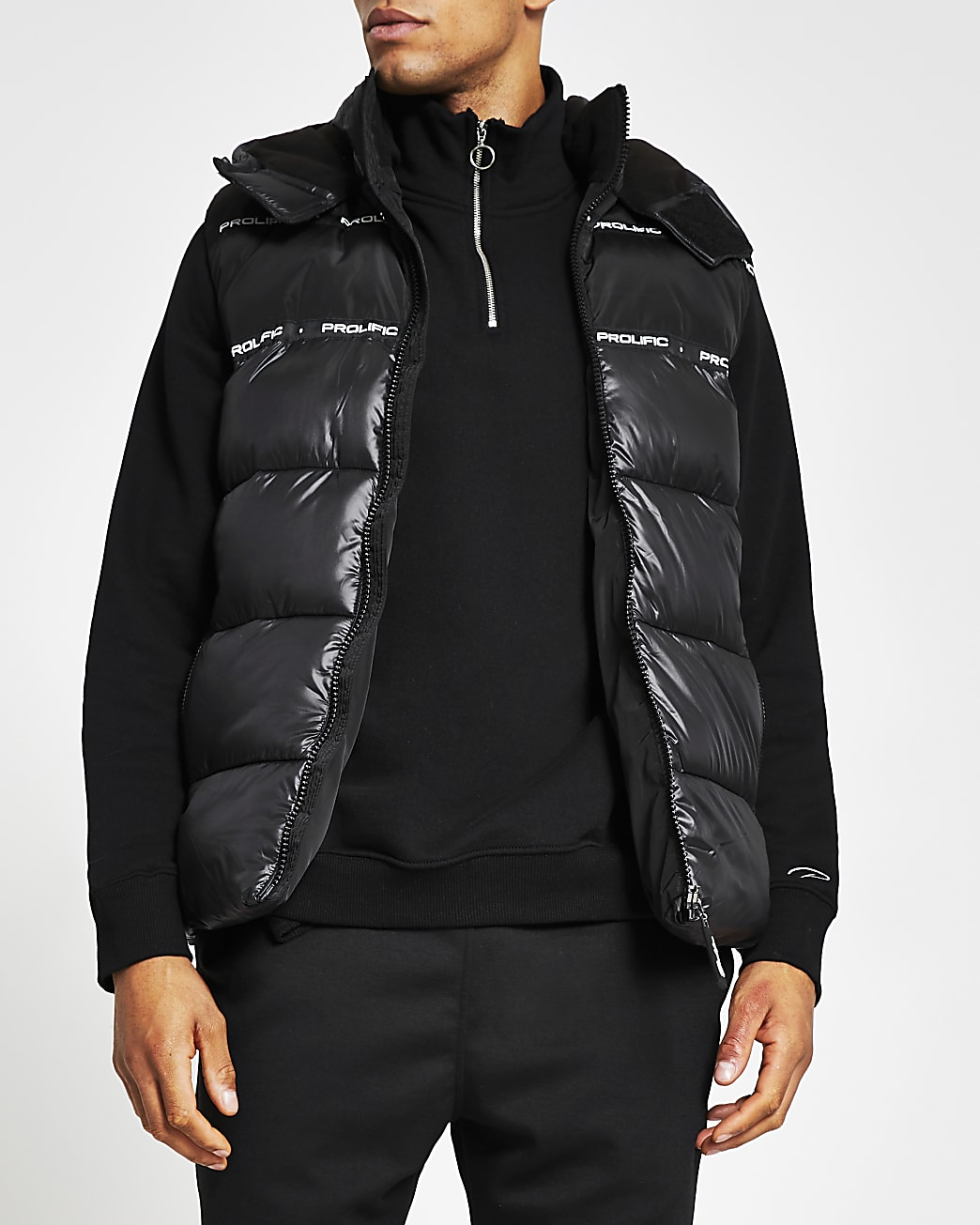 Black Prolific wet look hooded gilet