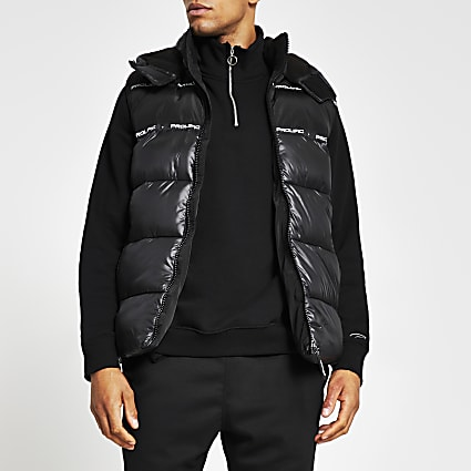 Black Prolific wet look hooded gilet