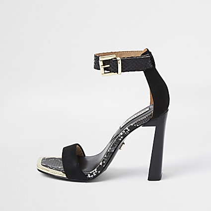 Black pu almond toe sandal