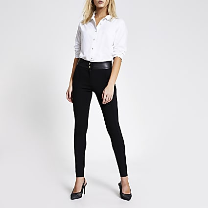 Black PU and ponte cigarette trousers
