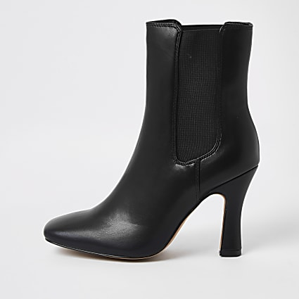 Black PU block heel boots
