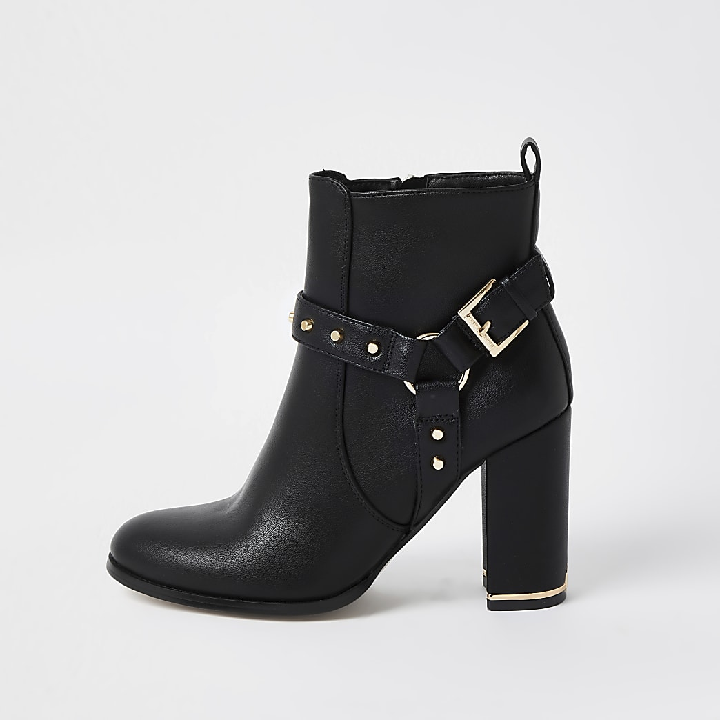 Black PU block heel boots