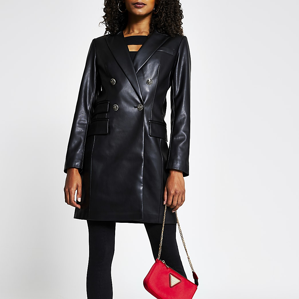 Black PU button front long line blazer