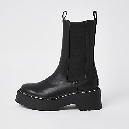 Black PU chunky boots