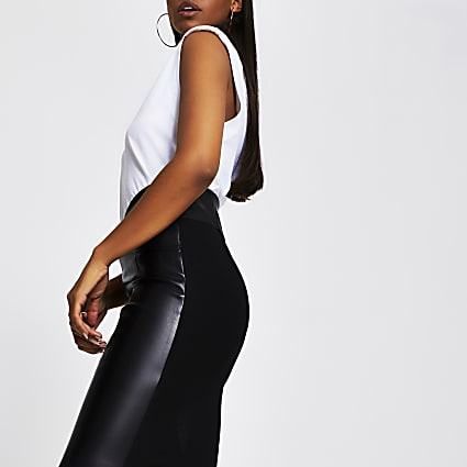 Black PU corset pencil skirt
