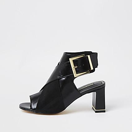 Black PU cross over peep toe shoe boot