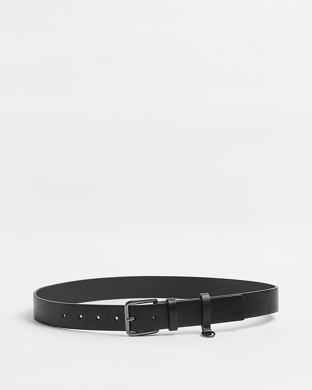 Black PU d ring belt