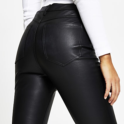 Black PU flared trousers