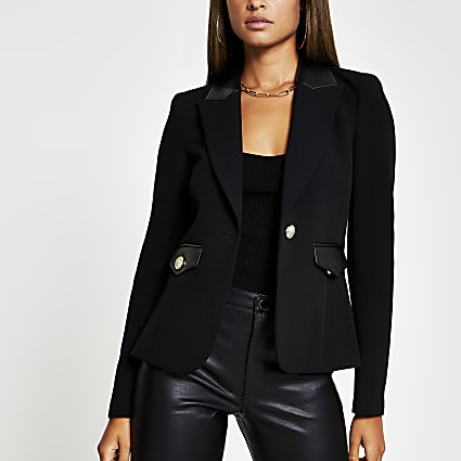 Black Pu gold button detail blazer