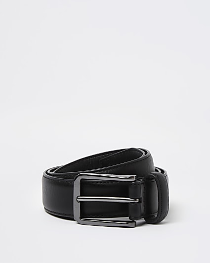 Black PU gunmetal buckle belt