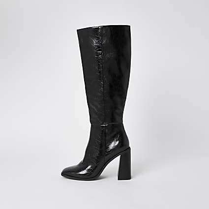 Black PU high leg block heel boots
