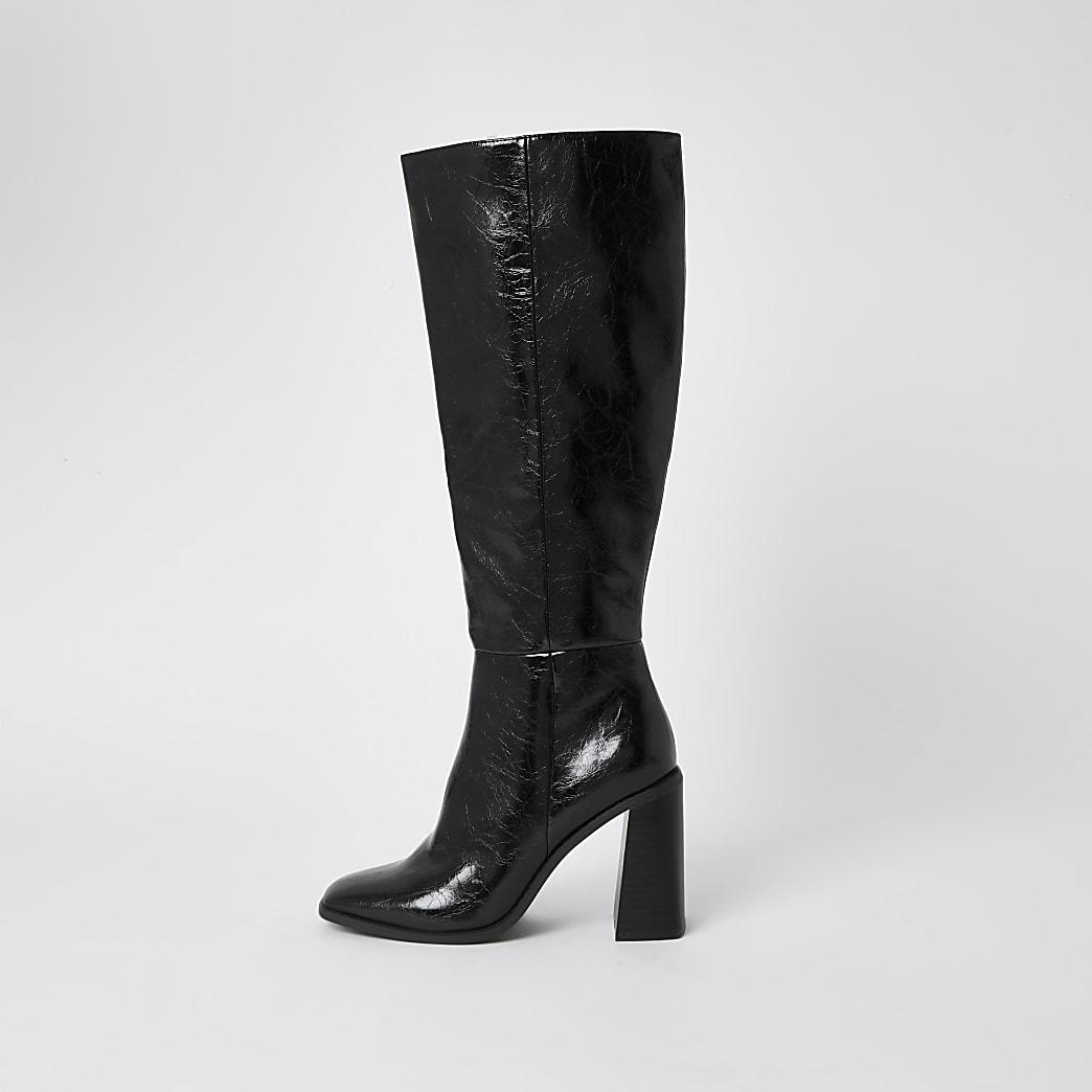 Black PU high leg block heel boots